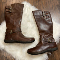 Born B.O.C. Vegan Brown Leather Tall Boots Buckles Size 8.5 Women's