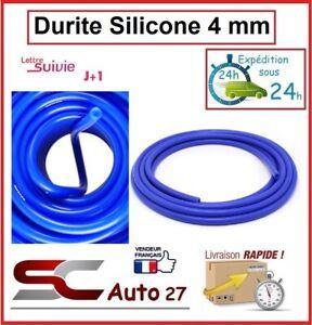 Durite silicone de dépression 4 mm intérieur le mètre linéaire couleur bleu