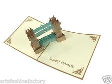 3D Tower Bridge Pop- up Birthday Greeting Card Paper-craft Paper-Cut Art