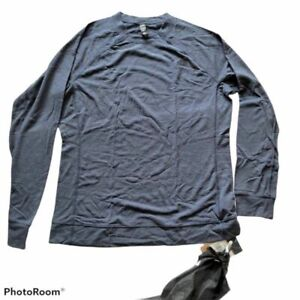 The North Face Mens Base Layer Blue Heathered Long Sleeve Crew Neck Pullover L
