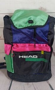 Vintage 90's HEAD Neon Rucksack Bag - Shell Suit Gym Bag - Rare