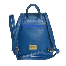 MOSCHINO VINTAGE BLUE TEXTURED LEATHER BACKPACK