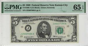 1969 $5 FEDERAL RESERVE NOTE KANSAS CITY FR.1969-J JA BLOCK PMG GEM UNC 65 EPQ