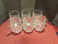 6 Small Glass Cups With Handles Heavy Glass Diamond Pattern On Bottom