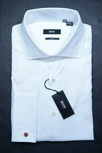 Hugo Boss Mens Jacco French Cuff Slim Fit White Cotton Dress Shirt 44 17.5 32/33
