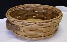 "Pyrex Woven Basket & Leather Handle Carrier round 9 1/2""  Casserole Dish F Ship"