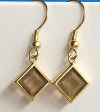 Gold Simulated Smoky Topaz Earrings Plated Brown Cubic Zirconia Dangle USASeller