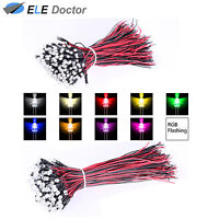 10 30 50pcs Pre Wired DC 9-12V 3mm 5mm Flat Top LED Diodes White Red Green Light
