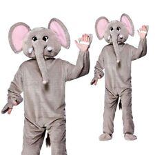 ELEFANTE ANIMALE GIUNGLA Grigio Costume MASCOTTE CON TESTA IMBOTTITA + TRONCO adulti