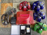 N64 Nintendo 64 - 4 Controllers, Games: Mario Zelda ++ Red/ Watermelon