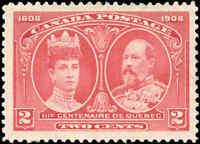 Mint H Canada F-VF Scott #98 2c 1908 Quebec Tercentenary Issue Stamp