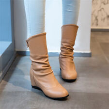 Women Round Toe Leather Ankle Boots Hidden Wedge Heel Retro Booties Shoe Pull on