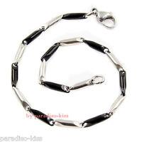 bracciale braccialetto in acciaio da uomo elegante argento nero cod 311