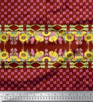 Soimoi Stoff Sonnenblume & clarkia rubicunda Blumen- Stoff Meterware -FL-792B