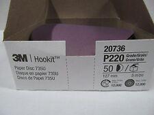 3M HOOKIT CERAMIC HOOK AND LOOP SANDING DISCS 220 GRIT 5 INCH 1 Box ( 50 EA)