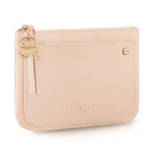 CHLOE  PINK  POUCH / COSMETIC / MAKE-UP BAG WITH GOLD ZIP BOXED