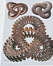M C Escher Knots Poster of  Reddish Toned Interlocking Chains 16X11  12 x 8 1/2
