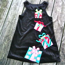 RARE EDITIONS Black Velour Christmas Party Dress Gift Box Appliques Girls 6