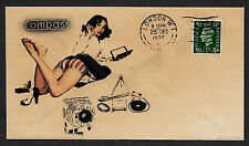 1937 Compass Camera Ad & Pin Up Girl Featured on Collector's Envelope *900P
