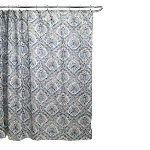 Elaine Fabric Bathroom Bath Shower Curtain Teal Blue Mocha Floral Paisley 70x70