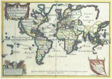 Map of The World Nicolas De Fer Reproduction Map c 1724 A3 Size Parchment Paper.