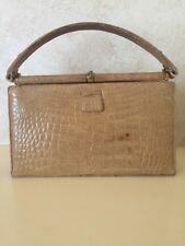 Lucille De Paris Tan Crocodile Vintage Handbag W/gold Hardware EUC