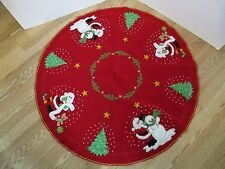 "Finished Bucilla felt Christmas Tree Skirt Red 44"" kit 82505 Santa checking list"