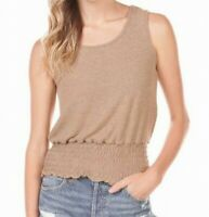 Moa Moa Knit Tank Top Camel Brown Size XL Junior Smocked-Hem Solid $34 346