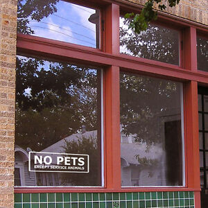No Pets Except Service Animals Store Front Window Wall Sign Sticker Decal Decor