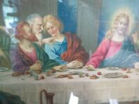 """Vintage Wooden Framed Last Supper Picture Wall Hanging Religious  21.5"""" x 15.5"""""""