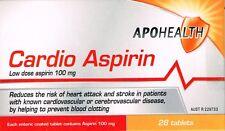 => APOHEALTH CARDIO LOW DOSE ASPIRIN 100MG  28 ENTERIC COATED= CARTIA