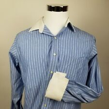 Brooks Brothers Men's Button Down Long Sleeve French Cuffs Blue Stripe 15.5 34 M
