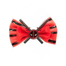 MARVEL COMICS DEADPOOL LOGO BOW TIE HAIR CLIP ON ALLIGATOR SAFETY PIN RED BLACK