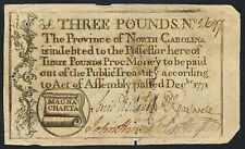 Three Pounds Rare Colonial Currency Note Dec 1771 North Carolina Hw1615
