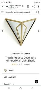 La Redoute Triangular Wall Light Shade Brass Art Deco Style Brand NEW