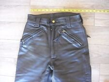 "Langlitz Leathers Motorcycle Pants Black 26""X27"" Vintage  Cowhide 7 zippers"