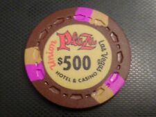 """2pc """"Union Plaza"""" $500 brown Scrown & $1.oo Ncv casino chips lot"""