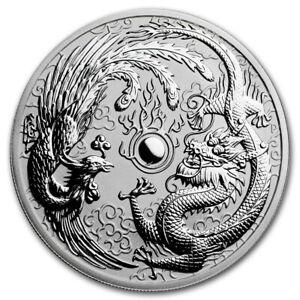 2017 AUSTRALIA 1 OZ SILVER DRAGON & PHOENIX SILVER COIN IN MINT CAPSULE