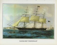 "1978 Vintage ""CLIPPER SHIP NIGHTINGALE NY NYC"" CURRIER & IVES COLOR Lithograph"