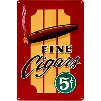 Vintage Fine Cigars Metal Sign - Home Bar Pub Restaurant Retro Decor Signage Art