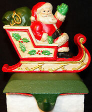 Midwest Importers Cast Iron Santa In Sleigh Christmas Stocking Holder Hanger
