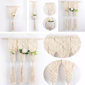 Vintage Macrame Plant Hanger Flower Pot Garden Pocket Holder Hanging Rope Basket