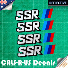 4 x SSR Racing Wheel Sticker Rim Decal JDM SILVER Reflective Layered Vinyl 100mm