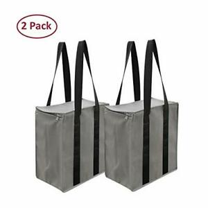 Insulated Reusable Grocery Bag Shopping Tote Thermal Cooler Zipper Closure ( 2 )