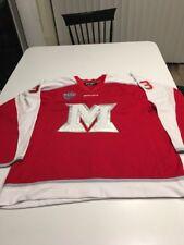 Game Worn Used Miami Red Hawks Hockey Jersey Bauer Size 58 #33 Schmit