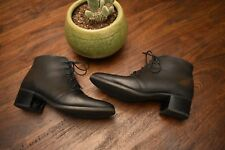 BLONDO CANADA Black Leather Mid Ankle Boots Size 8.5 Military Inspired