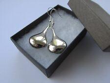 Handmade Elongated Puffed Silver Gloss Teardrop Droplet Dangle Pendant Earrings