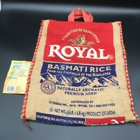 "Royal Basmati Rice Burlap Bag, Light Beige, Zippered Sack, Tote 14"" x 13"""