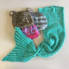 🐨 Esprit Teddy Ears 3 X Baby Beanie Knitted Green Mermaid Tale Blanket Bulk Lot