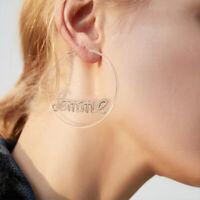 Letters Baby Retro Statement Gold Circle Drop Dangle Jewelry Earrings Women